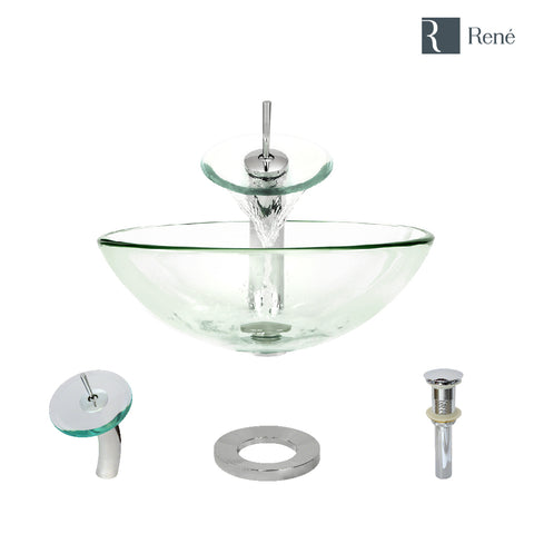 "Rene 17"" Round Glass Bathroom Sink, Crystal, with Faucet, R5-5001-CRY-WF-C"