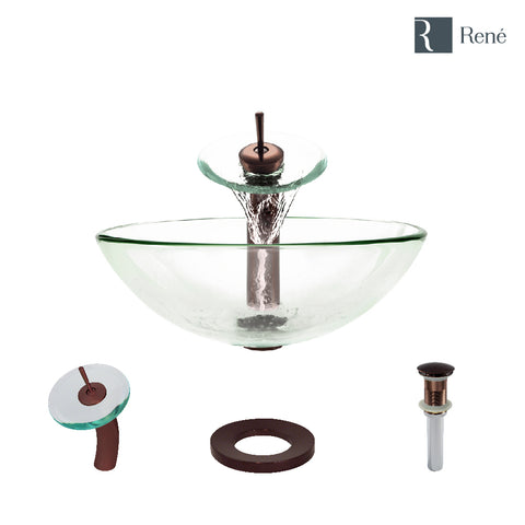 "Rene 17"" Round Glass Bathroom Sink, Crystal, with Faucet, R5-5001-CRY-WF-ORB"