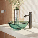 "Rene 17"" Round Glass Bathroom Sink, Ivy, with Faucet, R5-5001-IVY-R9-7001-ABR"