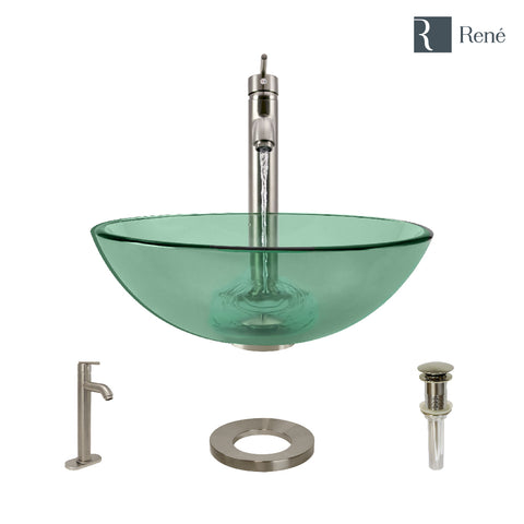 "Rene 17"" Round Glass Bathroom Sink, Ivy, with Faucet, R5-5001-IVY-R9-7001-BN"