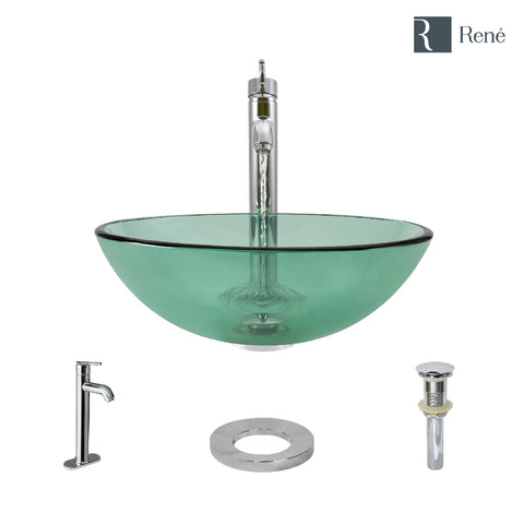 "Rene 17"" Round Glass Bathroom Sink, Ivy, with Faucet, R5-5001-IVY-R9-7001-C"