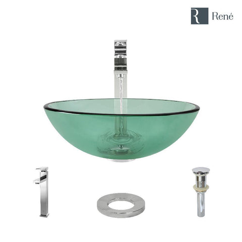 "Rene 17"" Round Glass Bathroom Sink, Ivy, with Faucet, R5-5001-IVY-R9-7003-C"
