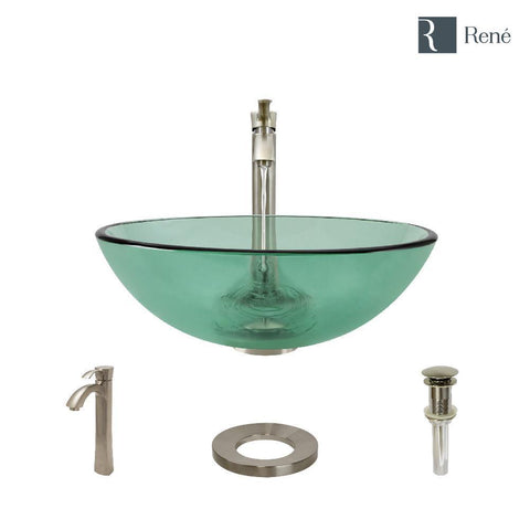 "Rene 17"" Round Glass Bathroom Sink, Ivy, with Faucet, R5-5001-IVY-R9-7006-BN"