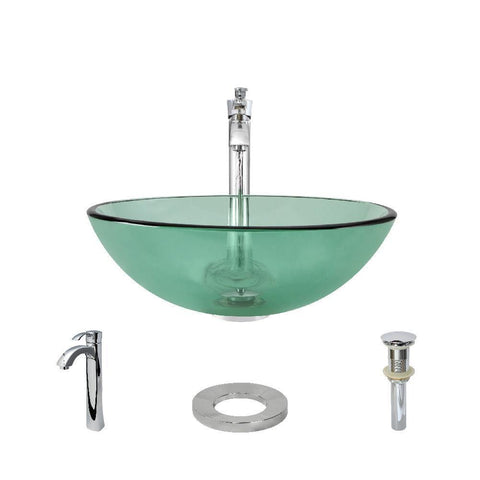 "Rene 17"" Round Glass Bathroom Sink, Ivy, with Faucet, R5-5001-IVY-R9-7006-C"