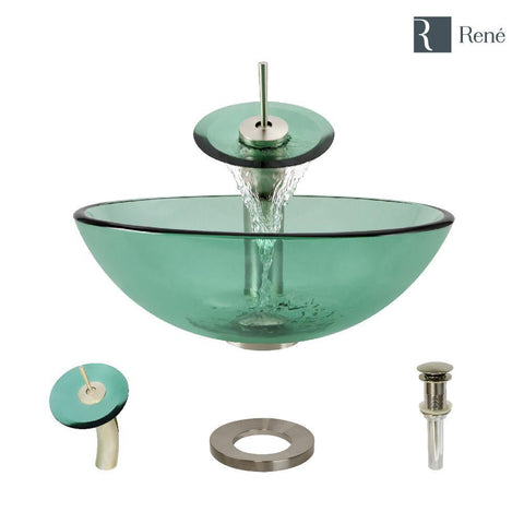 "Rene 17"" Round Glass Bathroom Sink, Ivy, with Faucet, R5-5001-IVY-WF-BN"