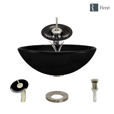 "Rene 17"" Round Glass Bathroom Sink, Noir, with Faucet, R5-5001-NOR-WF-BN"