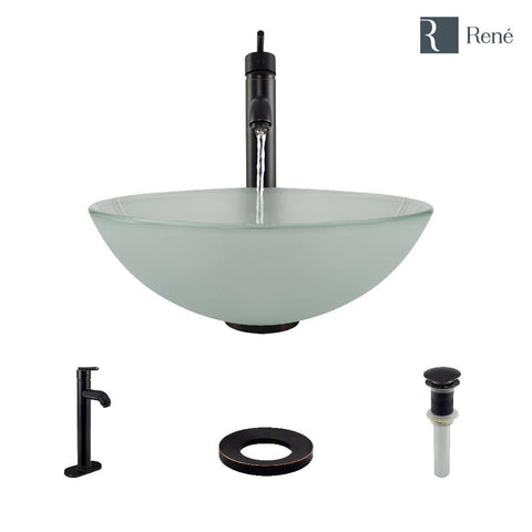 "Rene 17"" Round Glass Bathroom Sink, Frosted, with Faucet, R5-5002-R9-7001-ABR"