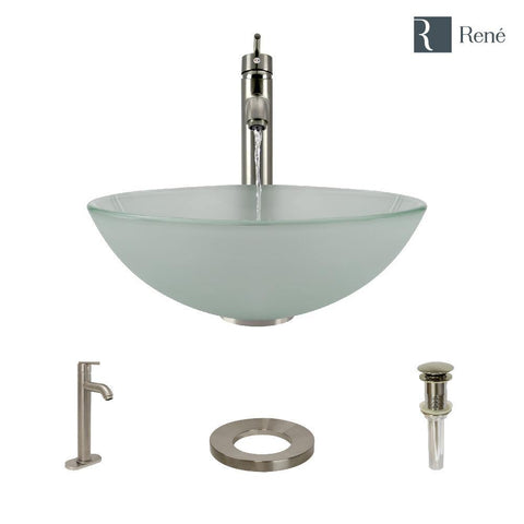 "Rene 17"" Round Glass Bathroom Sink, Frosted, with Faucet, R5-5002-R9-7001-BN"