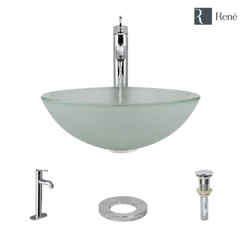 "Rene 17"" Round Glass Bathroom Sink, Frosted, with Faucet, R5-5002-R9-7001-C"