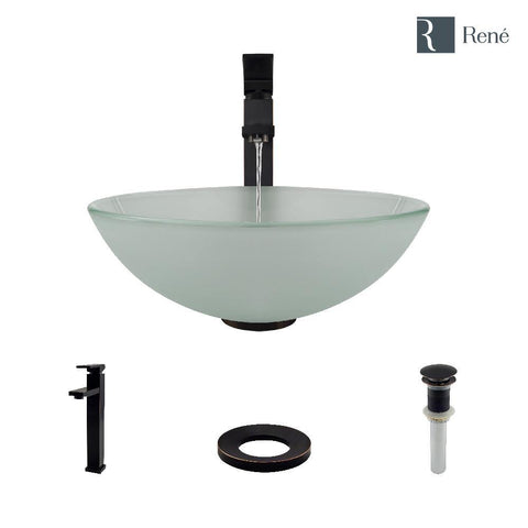"Rene 17"" Round Glass Bathroom Sink, Frosted, with Faucet, R5-5002-R9-7003-ABR"
