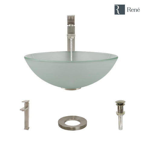 "Rene 17"" Round Glass Bathroom Sink, Frosted, with Faucet, R5-5002-R9-7003-BN"