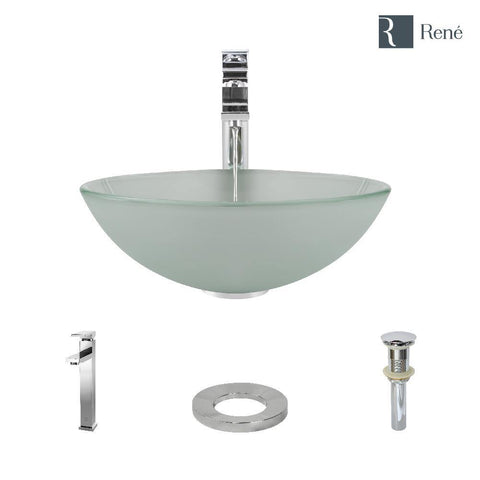 "Rene 17"" Round Glass Bathroom Sink, Frosted, with Faucet, R5-5002-R9-7003-C"