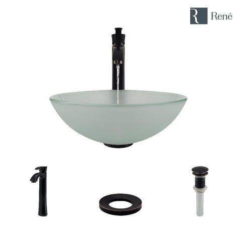 "Rene 17"" Round Glass Bathroom Sink, Frosted, with Faucet, R5-5002-R9-7006-ABR"
