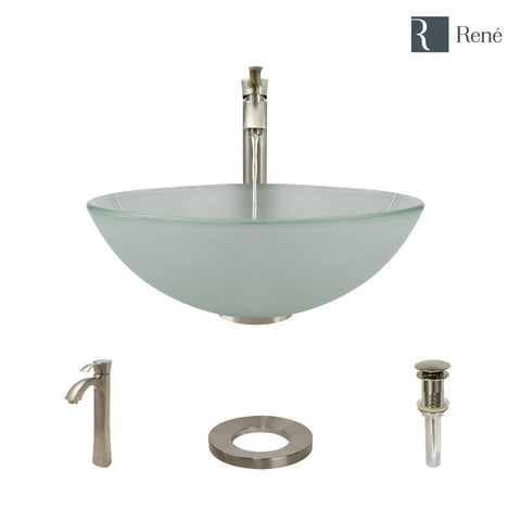 "Rene 17"" Round Glass Bathroom Sink, Frosted, with Faucet, R5-5002-R9-7006-BN"