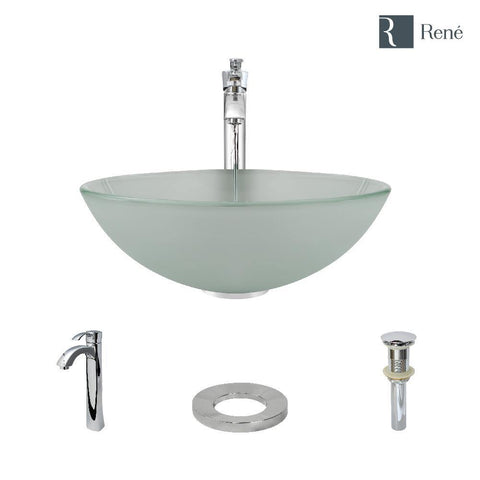 "Rene 17"" Round Glass Bathroom Sink, Frosted, with Faucet, R5-5002-R9-7006-C"