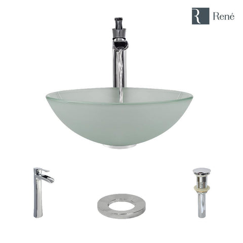 "Rene 17"" Round Glass Bathroom Sink, Frosted, with Faucet, R5-5002-R9-7007-C"