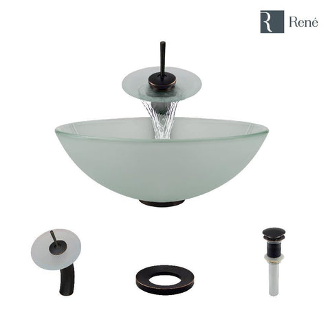 "Rene 17"" Round Glass Bathroom Sink, Frosted, with Faucet, R5-5002-WF-ABR"