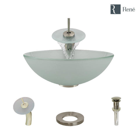 "Rene 17"" Round Glass Bathroom Sink, Frosted, with Faucet, R5-5002-WF-BN"