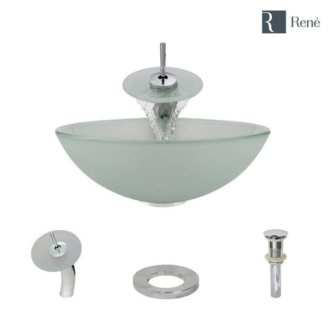 "Rene 17"" Round Glass Bathroom Sink, Frosted, with Faucet, R5-5002-WF-C"