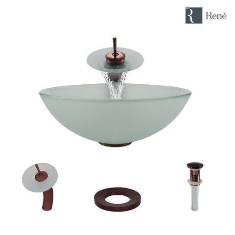 "Rene 17"" Round Glass Bathroom Sink, Frosted, with Faucet, R5-5002-WF-ORB"