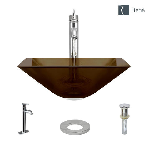 "Rene 17"" Square Glass Bathroom Sink, Cashmere, with Faucet, R5-5003-CAS-R9-7001-C"