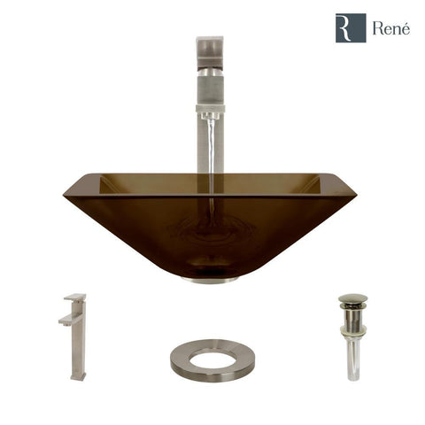 "Rene 17"" Square Glass Bathroom Sink, Cashmere, with Faucet, R5-5003-CAS-R9-7003-BN"