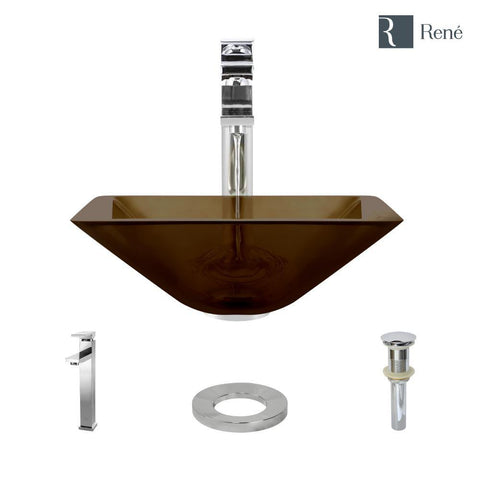 "Rene 17"" Square Glass Bathroom Sink, Cashmere, with Faucet, R5-5003-CAS-R9-7003-C"