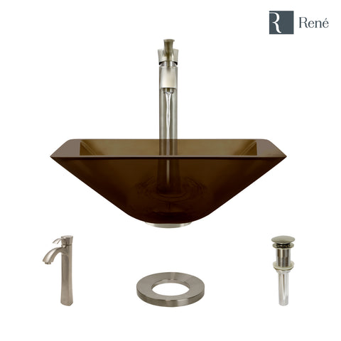 "Rene 17"" Square Glass Bathroom Sink, Cashmere, with Faucet, R5-5003-CAS-R9-7006-BN"