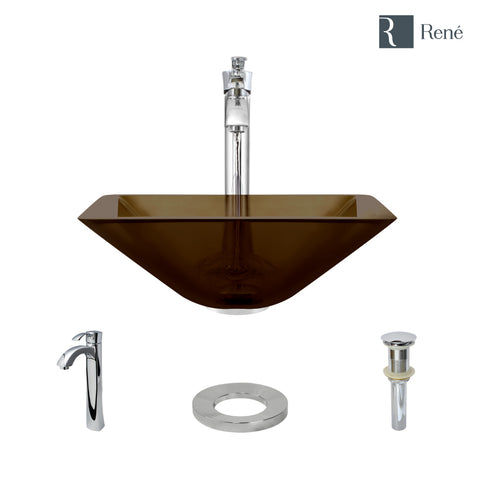"Rene 17"" Square Glass Bathroom Sink, Cashmere, with Faucet, R5-5003-CAS-R9-7006-C"