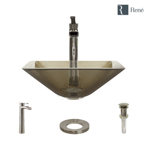 "Rene 17"" Square Glass Bathroom Sink, Cashmere, with Faucet, R5-5003-CAS-R9-7007-BN"