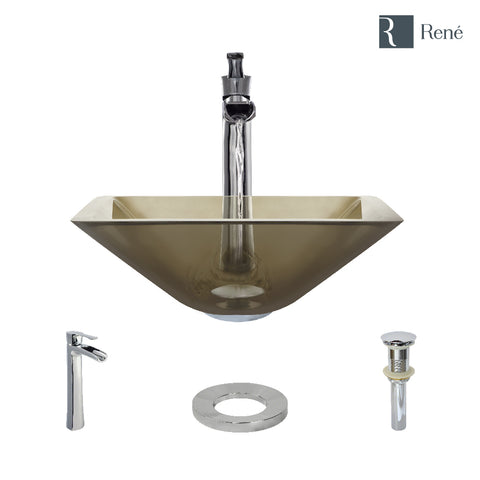 "Rene 17"" Square Glass Bathroom Sink, Cashmere, with Faucet, R5-5003-CAS-R9-7007-C"