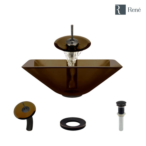 "Rene 17"" Square Glass Bathroom Sink, Cashmere, with Faucet, R5-5003-CAS-WF-ABR"