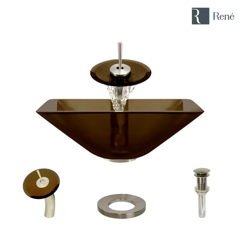 "Rene 17"" Square Glass Bathroom Sink, Cashmere, with Faucet, R5-5003-CAS-WF-BN"
