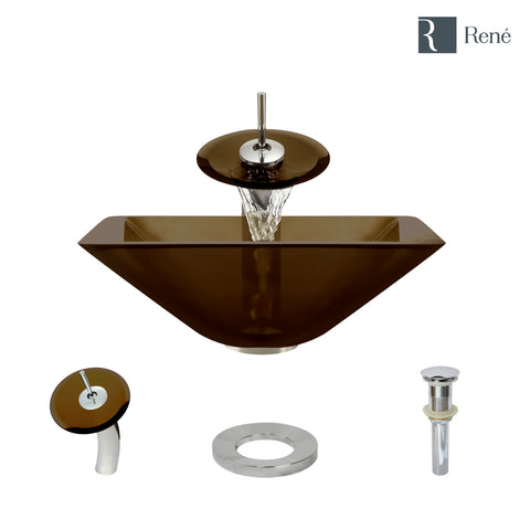 "Rene 17"" Square Glass Bathroom Sink, Cashmere, with Faucet, R5-5003-CAS-WF-C"
