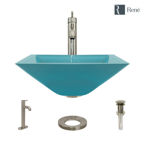 "Rene 17"" Square Glass Bathroom Sink, Cerulean, with Faucet, R5-5003-CER-R9-7001-BN"