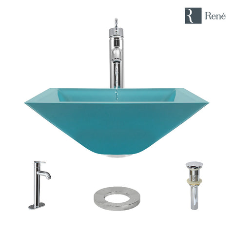 "Rene 17"" Square Glass Bathroom Sink, Cerulean, with Faucet, R5-5003-CER-R9-7001-C"