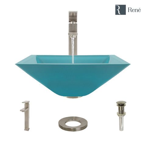 "Rene 17"" Square Glass Bathroom Sink, Cerulean, with Faucet, R5-5003-CER-R9-7003-BN"