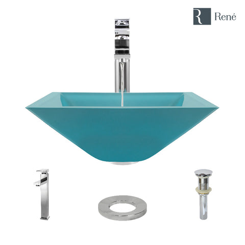 "Rene 17"" Square Glass Bathroom Sink, Cerulean, with Faucet, R5-5003-CER-R9-7003-C"