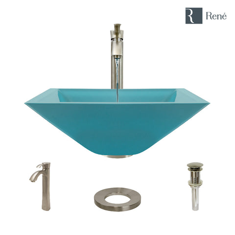 "Rene 17"" Square Glass Bathroom Sink, Cerulean, with Faucet, R5-5003-CER-R9-7006-BN"