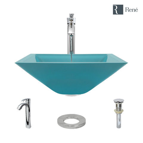 "Rene 17"" Square Glass Bathroom Sink, Cerulean, with Faucet, R5-5003-CER-R9-7006-C"