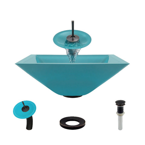 "Rene 17"" Square Glass Bathroom Sink, Cerulean, with Faucet, R5-5003-CER-WF-ABR"