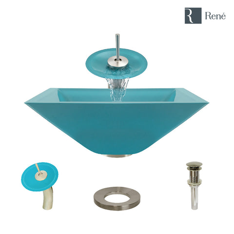 "Rene 17"" Square Glass Bathroom Sink, Cerulean, with Faucet, R5-5003-CER-WF-BN"