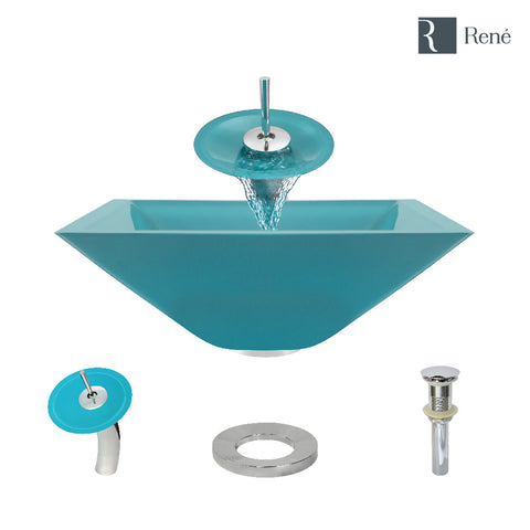 "Rene 17"" Square Glass Bathroom Sink, Cerulean, with Faucet, R5-5003-CER-WF-C"