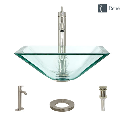 "Rene 17"" Square Glass Bathroom Sink, Crystal, with Faucet, R5-5003-CRY-R9-7001-BN"