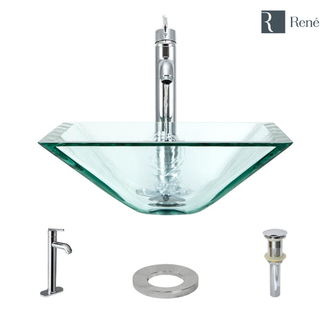 "Rene 17"" Square Glass Bathroom Sink, Crystal, with Faucet, R5-5003-CRY-R9-7001-C"