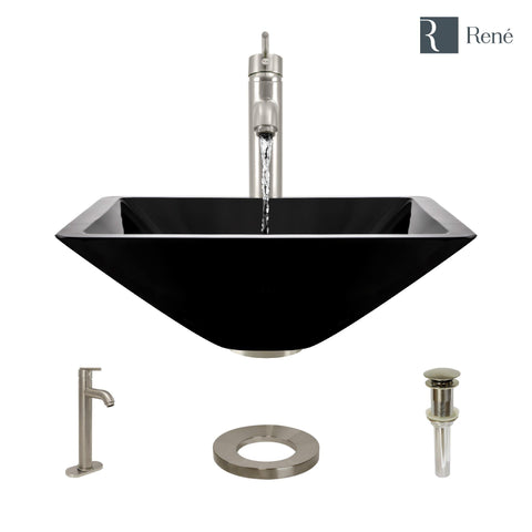 "Rene 17"" Square Glass Bathroom Sink, Noir, with Faucet, R5-5003-NOR-R9-7001-BN"