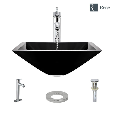 "Rene 17"" Square Glass Bathroom Sink, Noir, with Faucet, R5-5003-NOR-R9-7001-C"