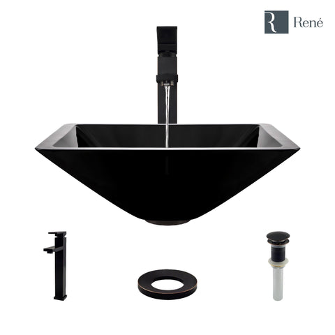 "Rene 17"" Square Glass Bathroom Sink, Noir, with Faucet, R5-5003-NOR-R9-7003-ABR"