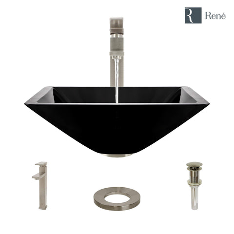 "Rene 17"" Square Glass Bathroom Sink, Noir, with Faucet, R5-5003-NOR-R9-7003-BN"