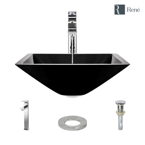 "Rene 17"" Square Glass Bathroom Sink, Noir, with Faucet, R5-5003-NOR-R9-7003-C"